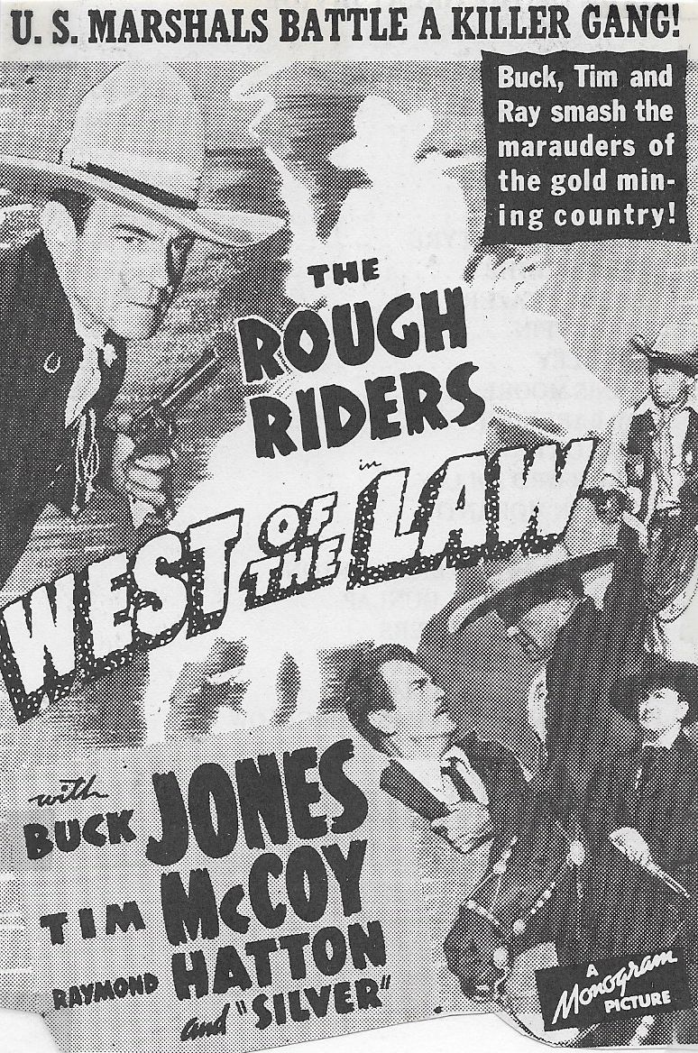 Tim McCoy, Raymond Hatton, Buck Jones, and Harry Woods in West of the Law (1942)