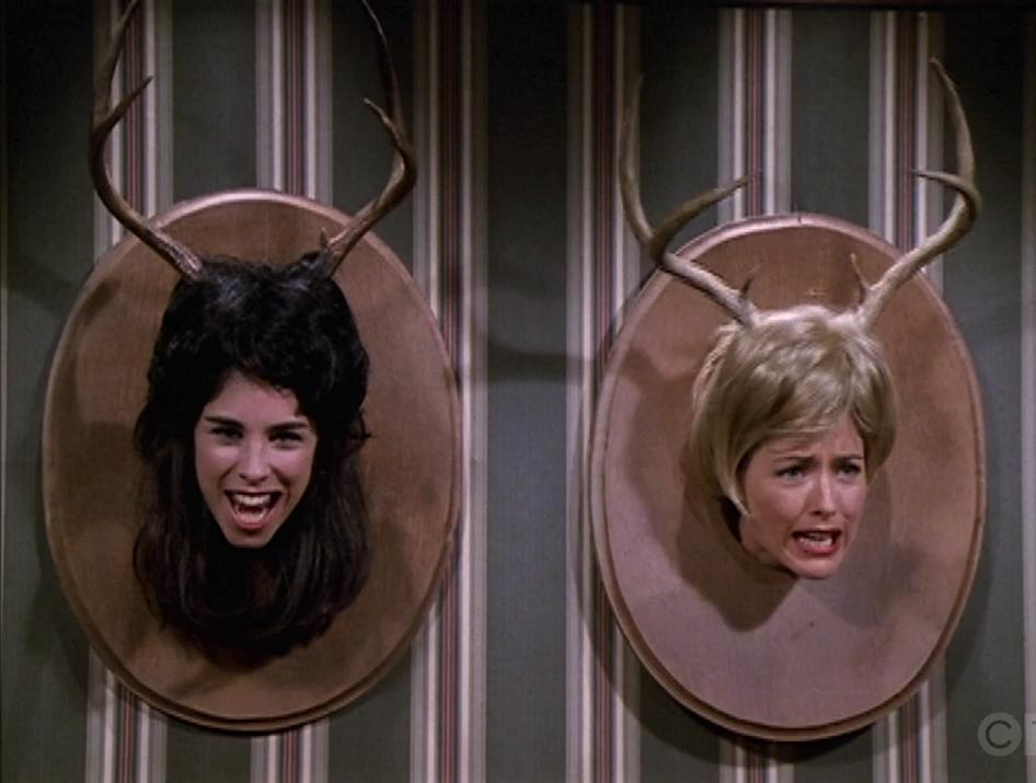Téa Leoni and Sarah Silverman in The Naked Truth (1995)
