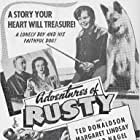 Ted Donaldson, Margaret Lindsay, Conrad Nagel, and Ace the Wonder Dog in Adventures of Rusty (1945)