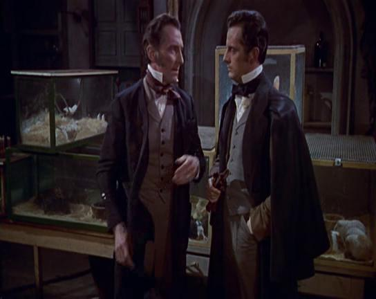 Peter Cushing and Francis Matthews in The Revenge of Frankenstein (1958)