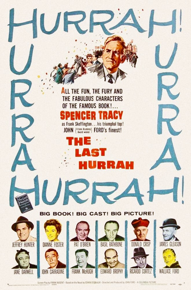 Spencer Tracy, John Carradine, Jeffrey Hunter, Basil Rathbone, Pat O'Brien, Ricardo Cortez, Edward Brophy, Donald Crisp, Wallace Ford, Dianne Foster, James Gleason, and Basil Ruysdael in The Last Hurrah (1958)