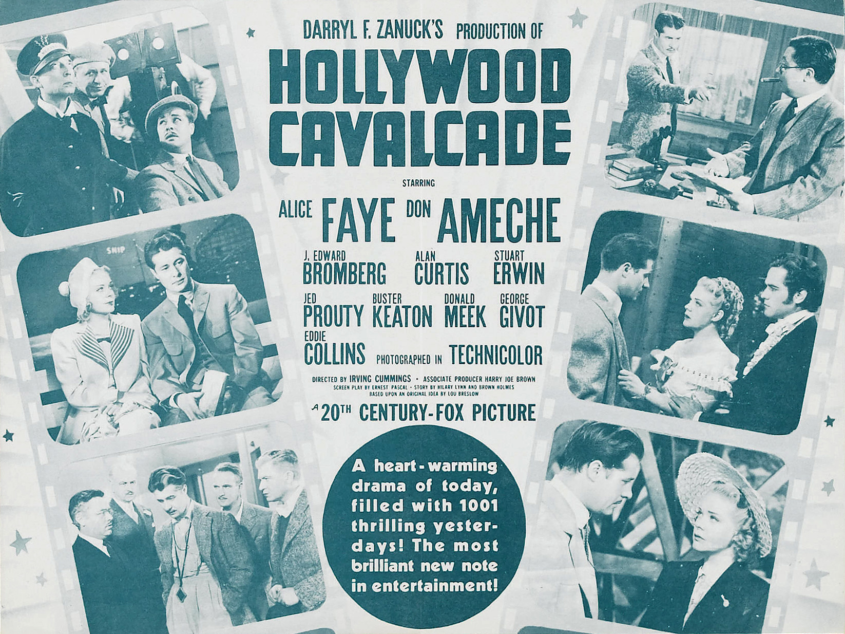 Buster Keaton, Don Ameche, J. Edward Bromberg, Eddie Collins, Alan Curtis, Stuart Erwin, Alice Faye, and Russell Hicks in Hollywood Cavalcade (1939)