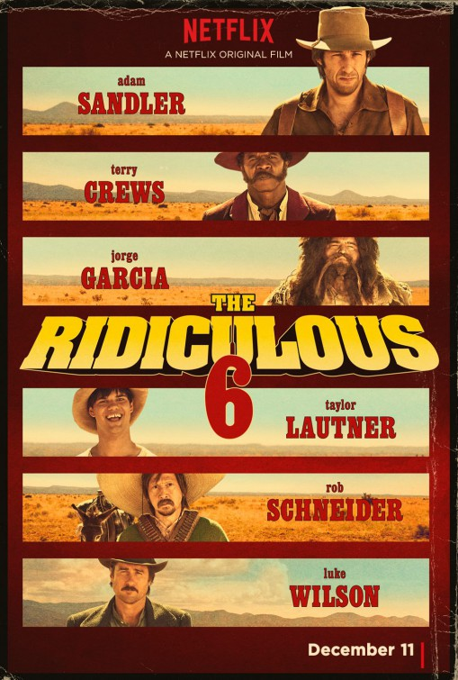 Adam Sandler, Rob Schneider, Luke Wilson, Terry Crews, Jorge Garcia, and Taylor Lautner in The Ridiculous 6 (2015)