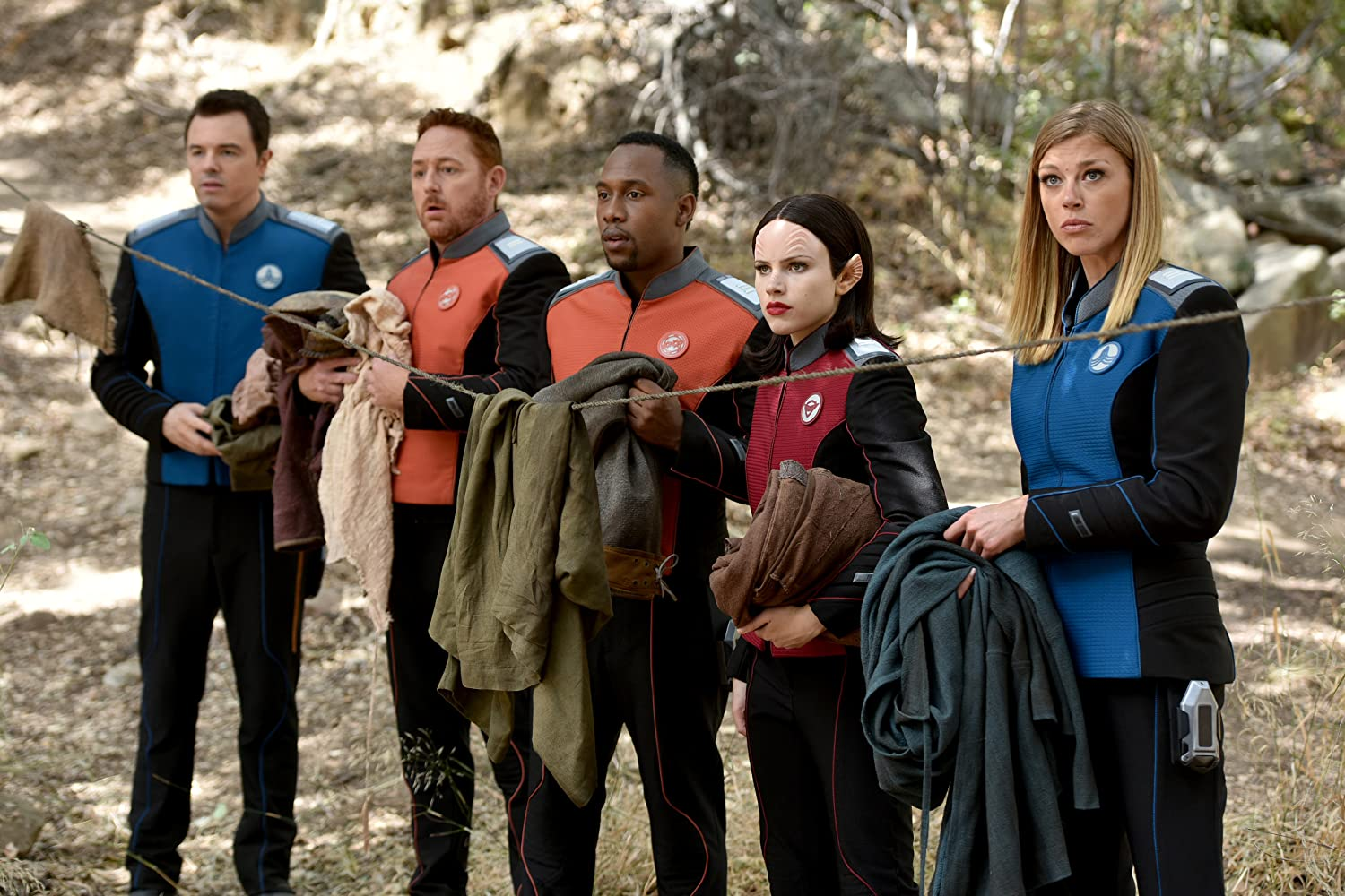 Scott Grimes, Seth MacFarlane, Adrianne Palicki, J. Lee, and Halston Sage in The Orville (2017)