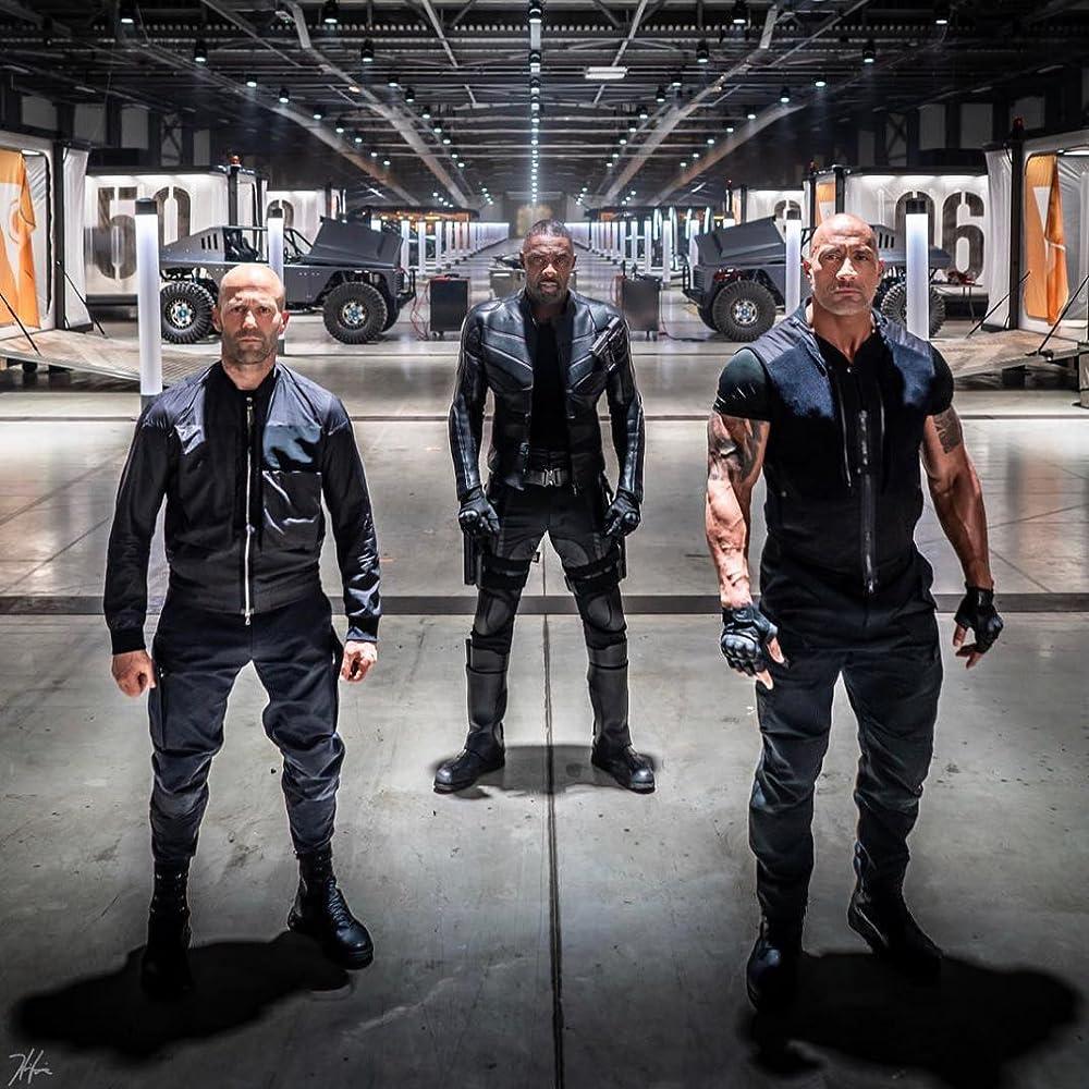 Jason Statham, Idris Elba, and Dwayne Johnson in Fast & Furious Presents: Hobbs & Shaw (2019)