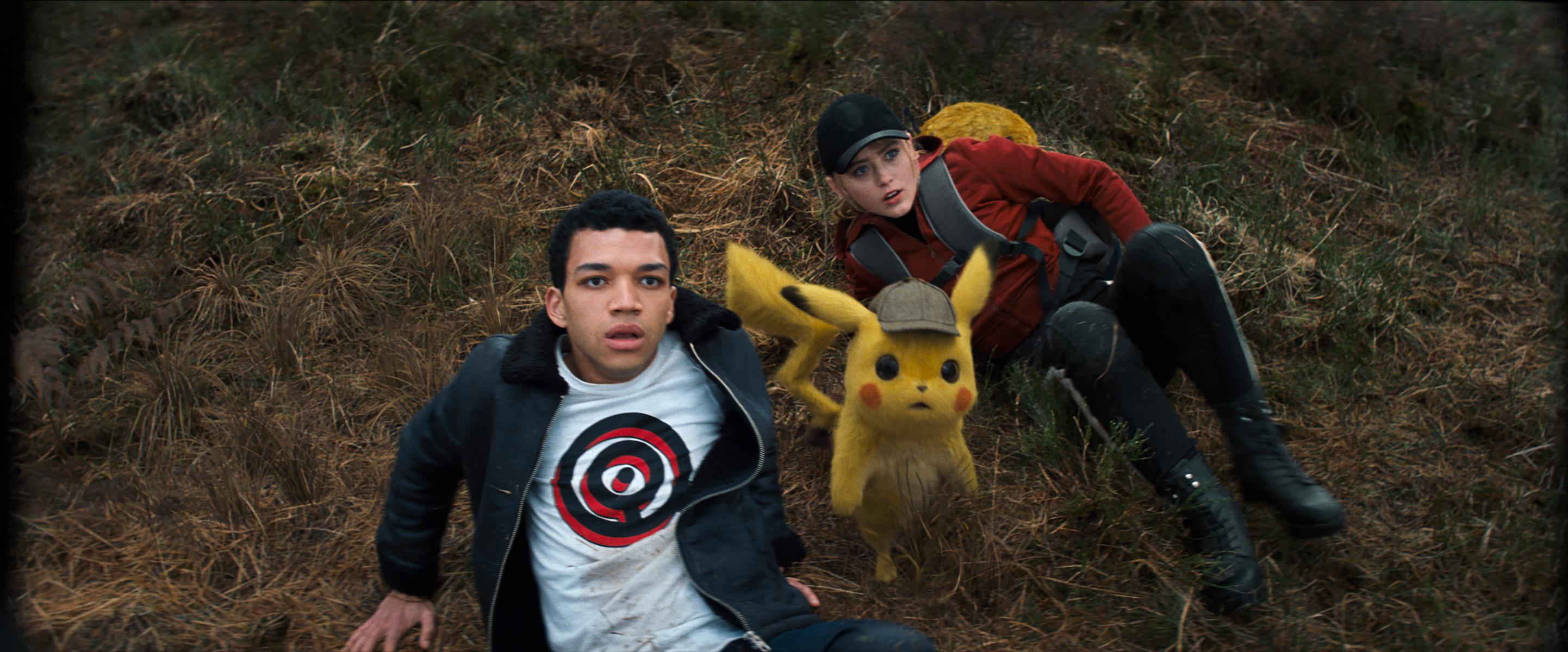 Ryan Reynolds, Kathryn Newton, and Justice Smith in Pokémon: Detective Pikachu (2019)