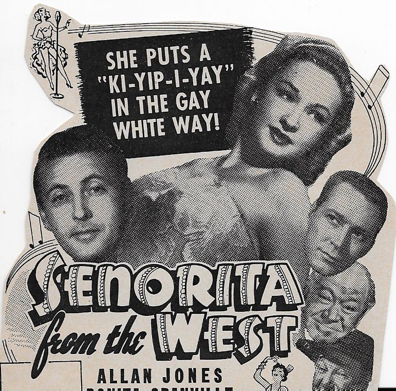 Jess Barker, George Cleveland, Bonita Granville, Allan Jones, and Oscar O'Shea in Senorita from the West (1945)