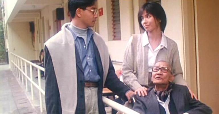 Leslie Cheung, Cherie Chung, and Ying Sau Hui in Sha zhi lian (1988)