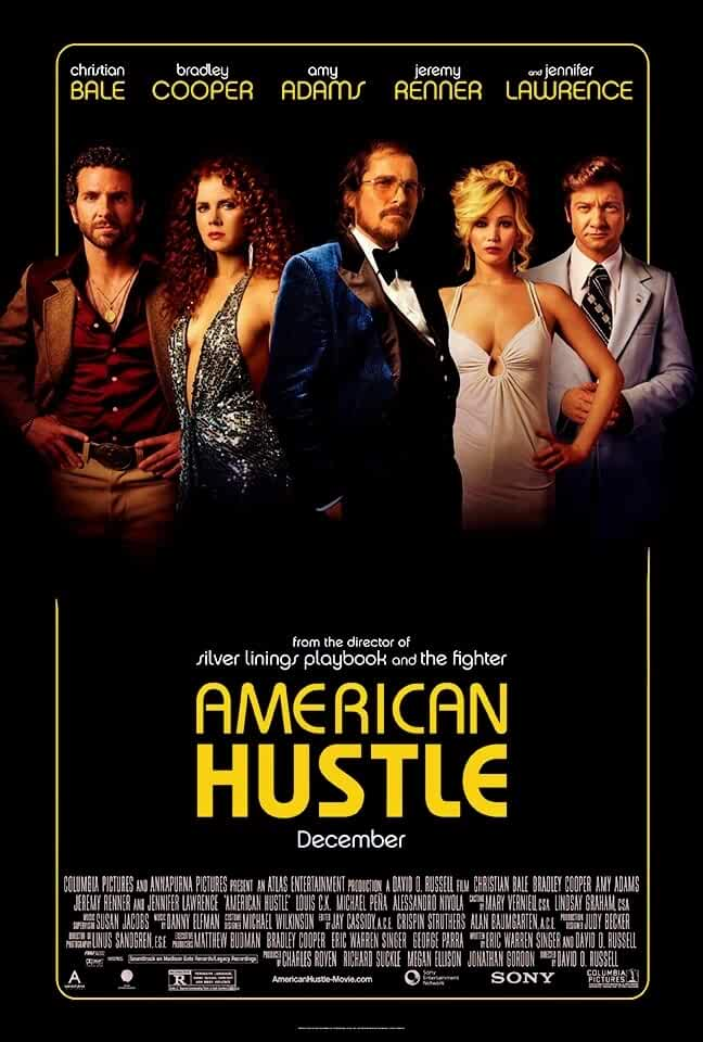 Christian Bale, Amy Adams, Bradley Cooper, Jeremy Renner, and Jennifer Lawrence in American Hustle (2013)