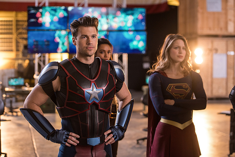 Nick Zano, Melissa Benoist, and Maisie Richardson-Sellers in Legends of Tomorrow (2016)