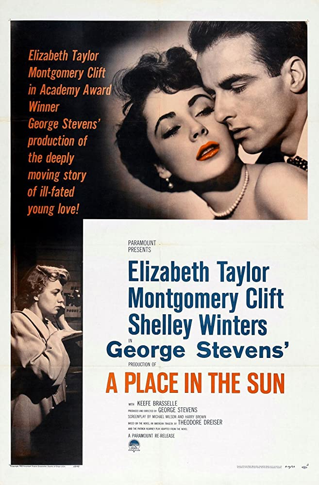Elizabeth Taylor, Montgomery Clift, and Shelley Winters in A Place in the Sun (1951)