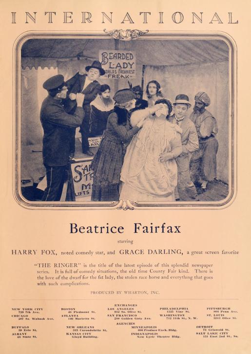 Elsie Baker, Grace Darling, Harry Fox, M.W. Rale, and Robin H. Townley in Beatrice Fairfax (1916)
