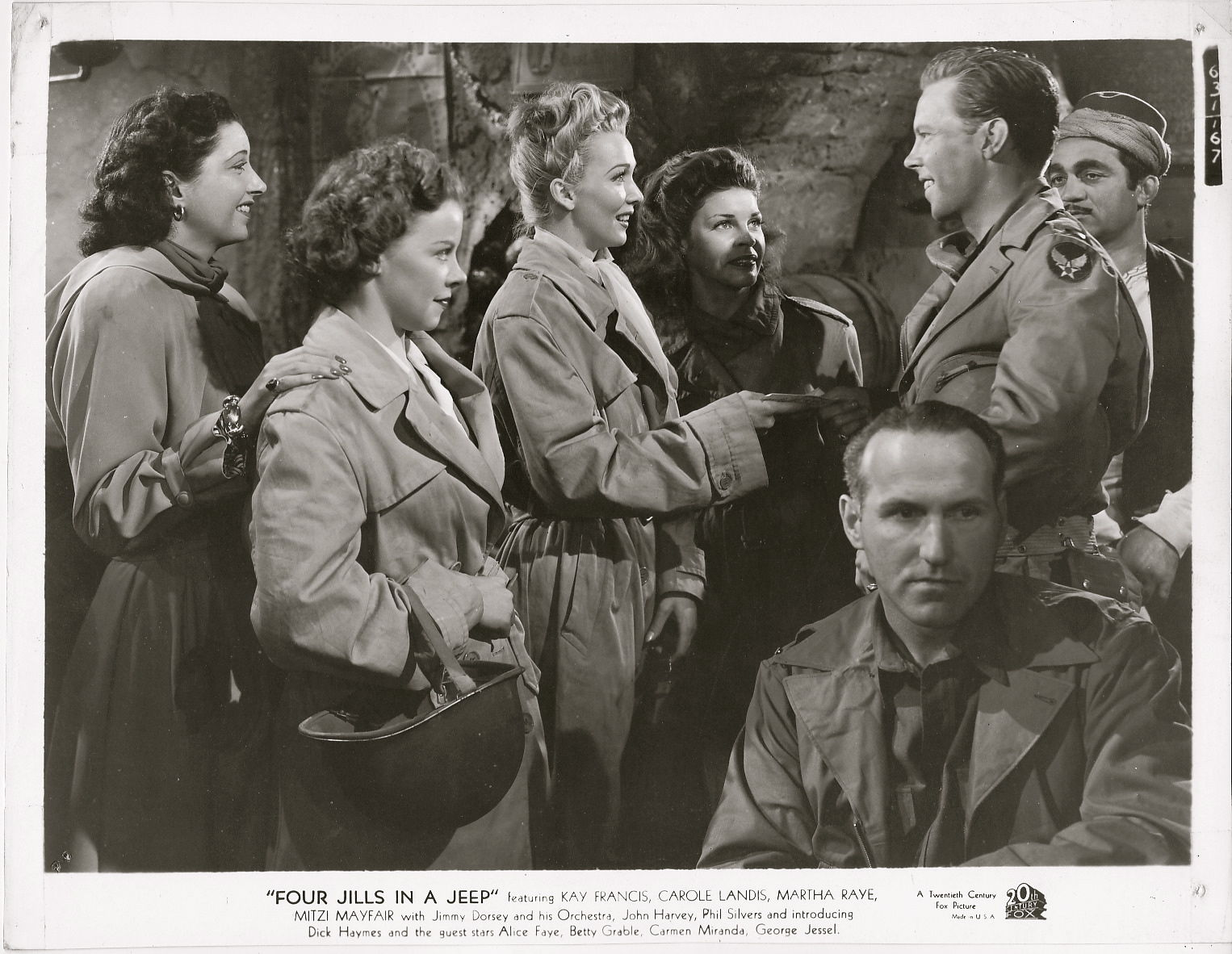 Kay Francis, Dick Haymes, Carole Landis, Mitzi Mayfair, and Martha Raye in Four Jills in a Jeep (1944)