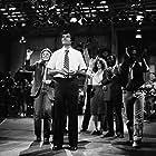 Jane Curtin, Garrett Morris, Laraine Newman, and Fred Willard in Saturday Night Live (1975)