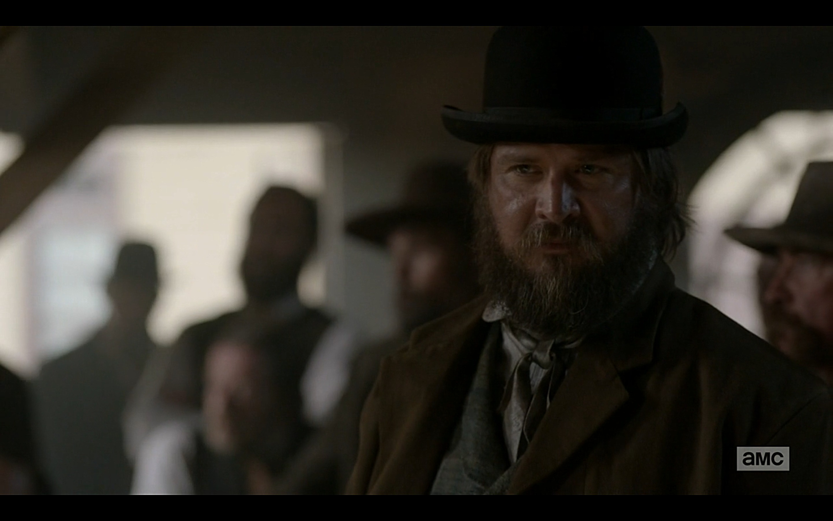Staring down #KevinBlatch aka Judge Webber after confronting him and John Campbell in the casino. We're taking over. #deadrabbits #hellonwheels episode 4.11 #bleedingkansas