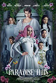 Milla Jovovich, Emma Roberts, Arnaud Valois, Eiza González, Jeremy Irvine, Danielle Macdonald, and Awkwafina in Paradise Hills (2019)