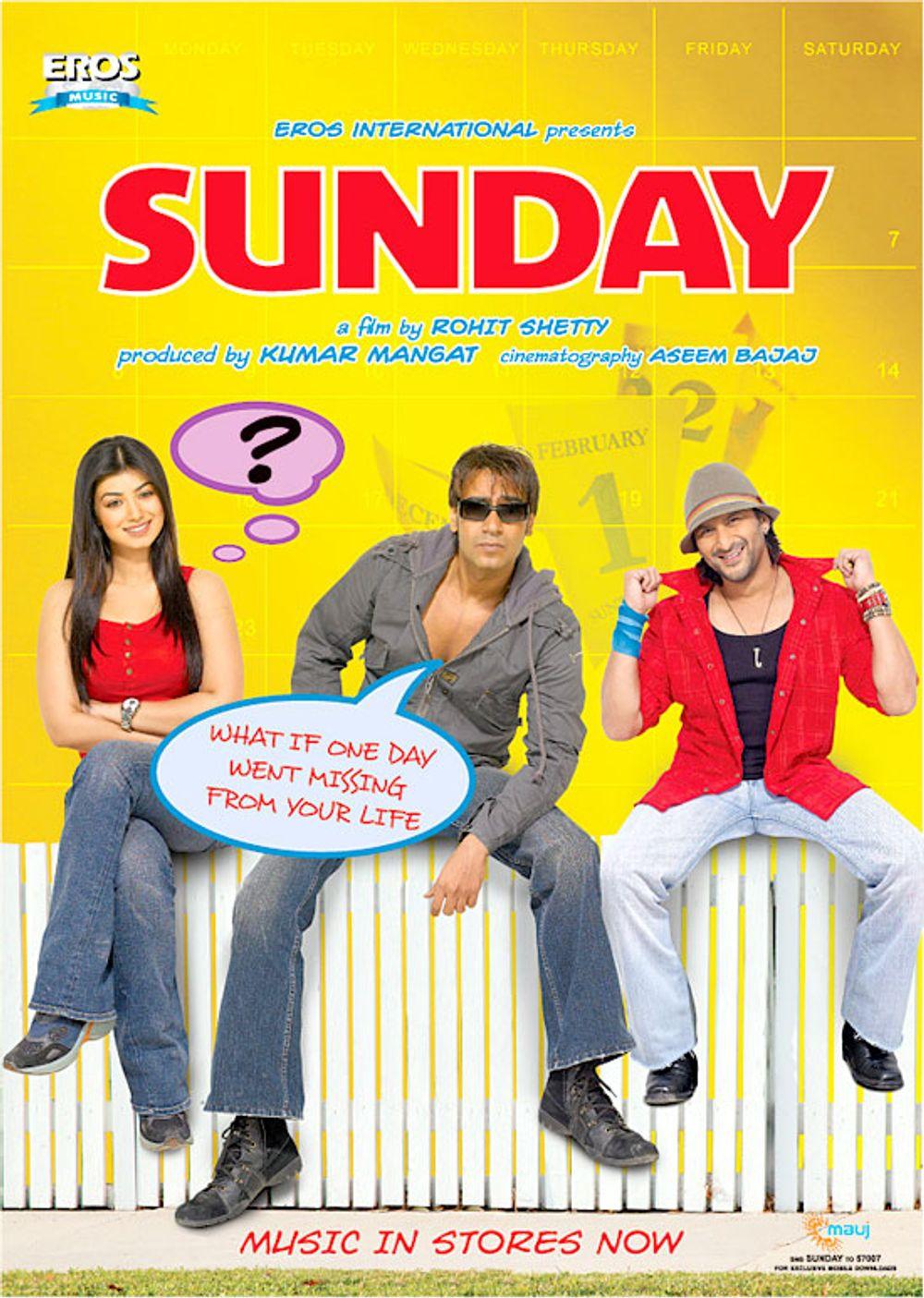 Ajay Devgn, Arshad Warsi, and Ayesha Takia in Sunday (2008)