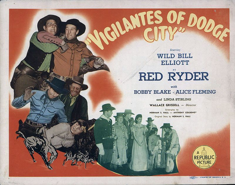 Steve Barclay, Robert Blake, Tom London, Bill Elliott, Alice Fleming, Bud Geary, and Linda Stirling in Vigilantes of Dodge City (1944)