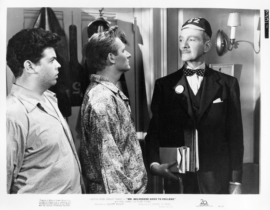 Alvin Greenman, Clifton Webb, and Alan Young in Mr. Belvedere Goes to College (1949)