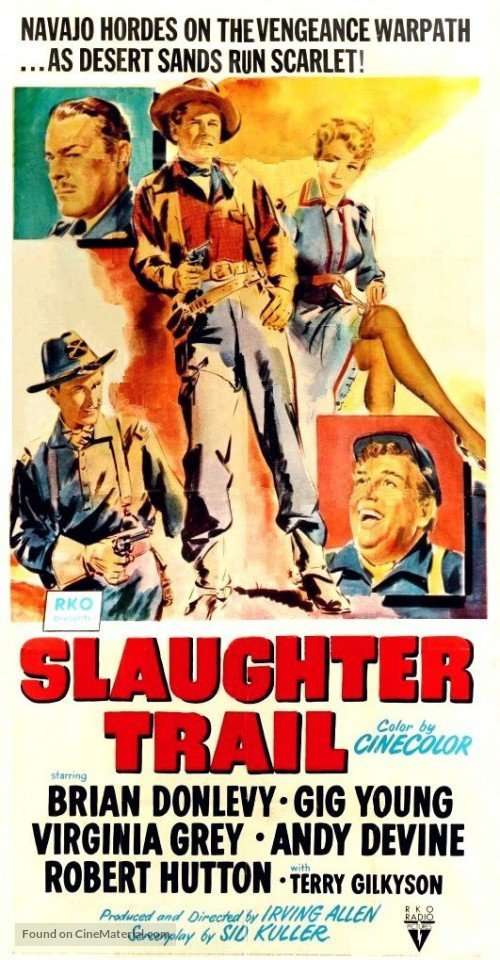 Brian Donlevy, Andy Devine, Virginia Grey, Robert Hutton, and Gig Young in Slaughter Trail (1951)