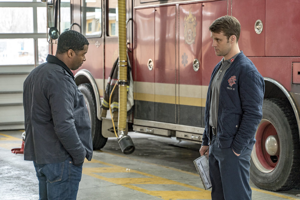 Jesse Spencer and Kamal Angelo Bolden in Chicago Fire (2012)