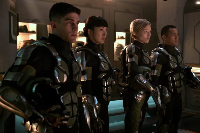 Ivanna Sakhno, Wesley Wong, Rahart Adams, and Lily Ji in Pacific Rim: Uprising (2018)