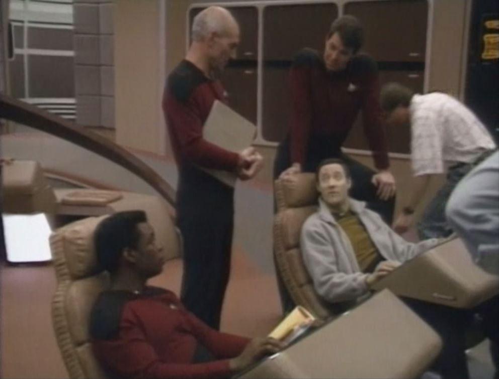 Jonathan Frakes, Brent Spiner, LeVar Burton, and Patrick Stewart in Star Trek: The Next Generation (1987)
