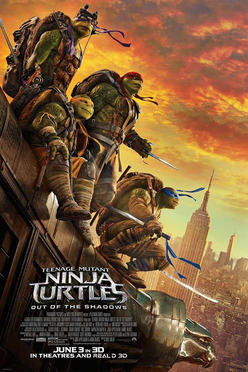 Teenage Mutant Ninja Turtles: Out of the Shadows 2016 Hindi Dual Audio 405MB BluRay ESubs Download