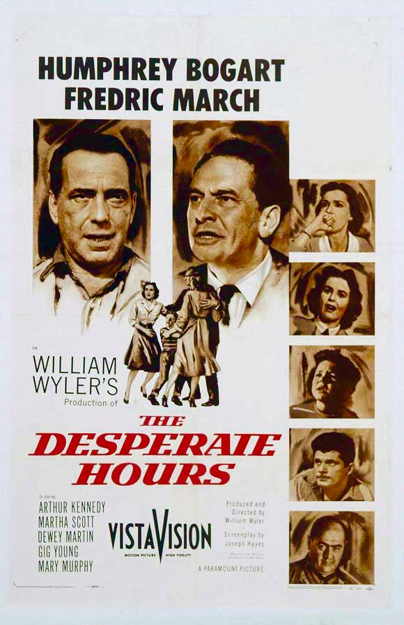 Humphrey Bogart, Richard Eyer, Fredric March, Dewey Martin, Robert Middleton, Mary Murphy, and Martha Scott in The Desperate Hours (1955)