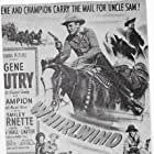 Gene Autry, Smiley Burnette, Gail Davis, and Champion in Whirlwind (1951)
