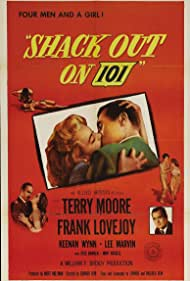 Jess Barker, Frank Lovejoy, Terry Moore, and Keenan Wynn in Shack Out on 101 (1955)