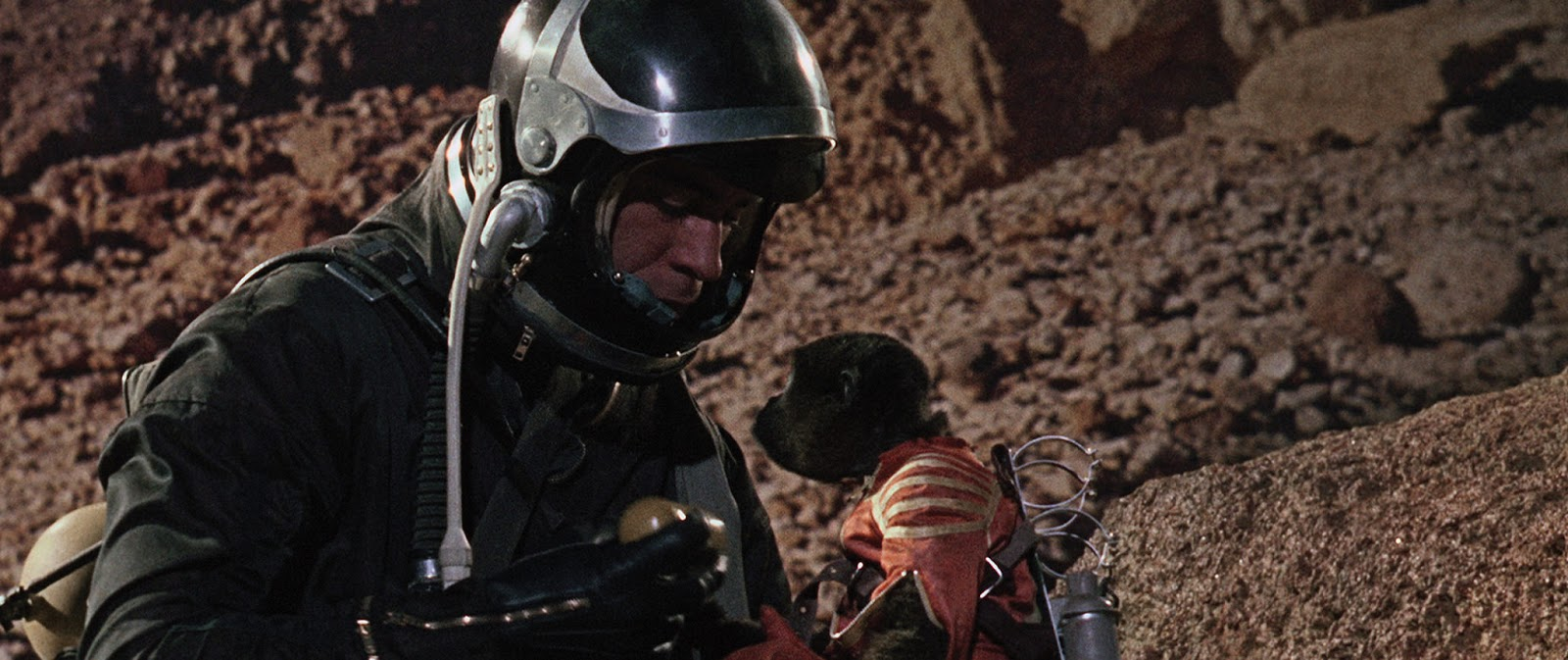 Paul Mantee and The Woolly Monkey in Robinson Crusoe on Mars (1964)