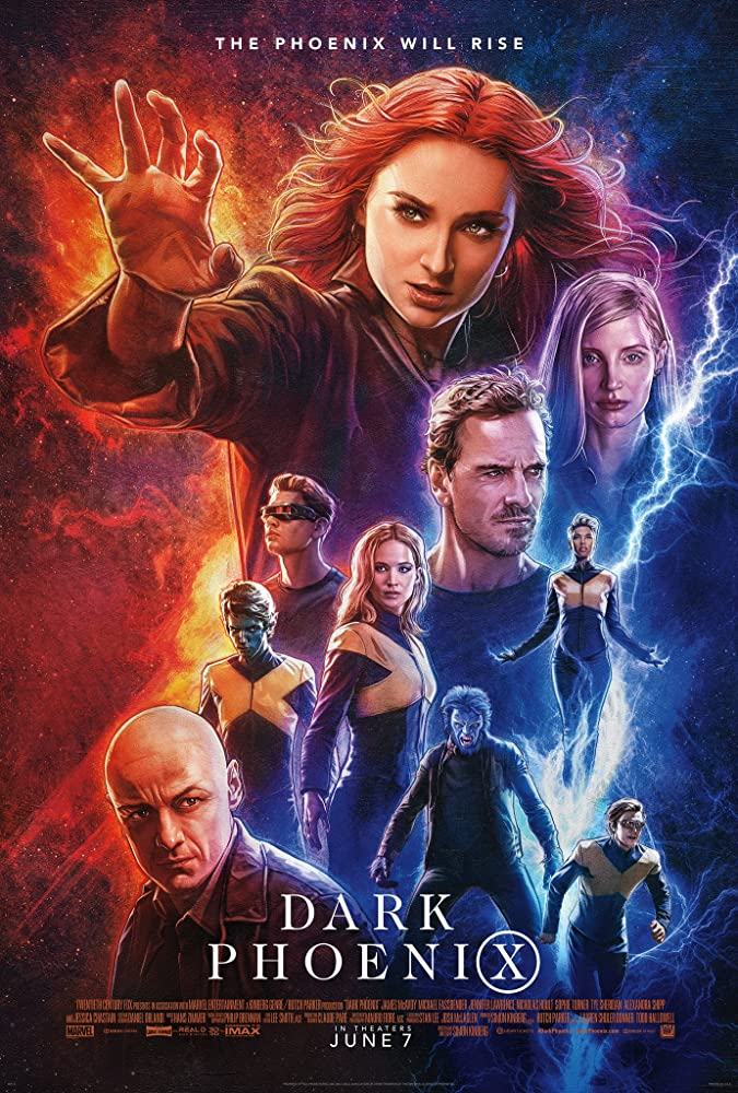 Nicholas Hoult, James McAvoy, Michael Fassbender, Evan Peters, Jessica Chastain, Jennifer Lawrence, Kodi Smit-McPhee, Alexandra Shipp, Sophie Turner, and Tye Sheridan in Dark Phoenix (2019)