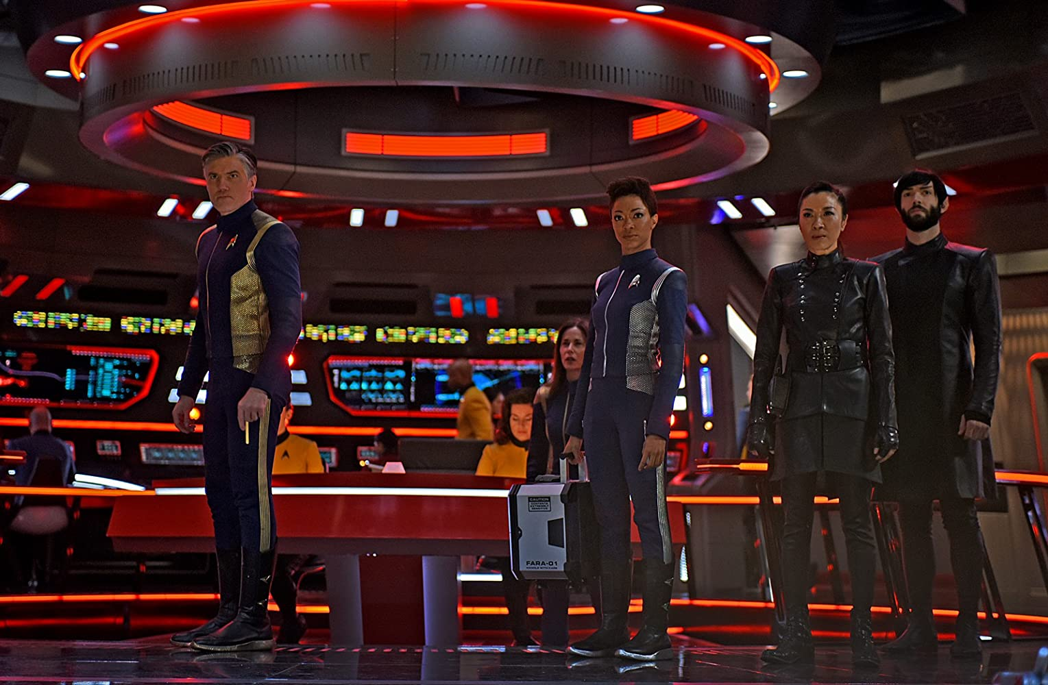 Michelle Yeoh, Jayne Brook, Anson Mount, Ethan Peck, and Sonequa Martin-Green in Star Trek: Discovery (2017)