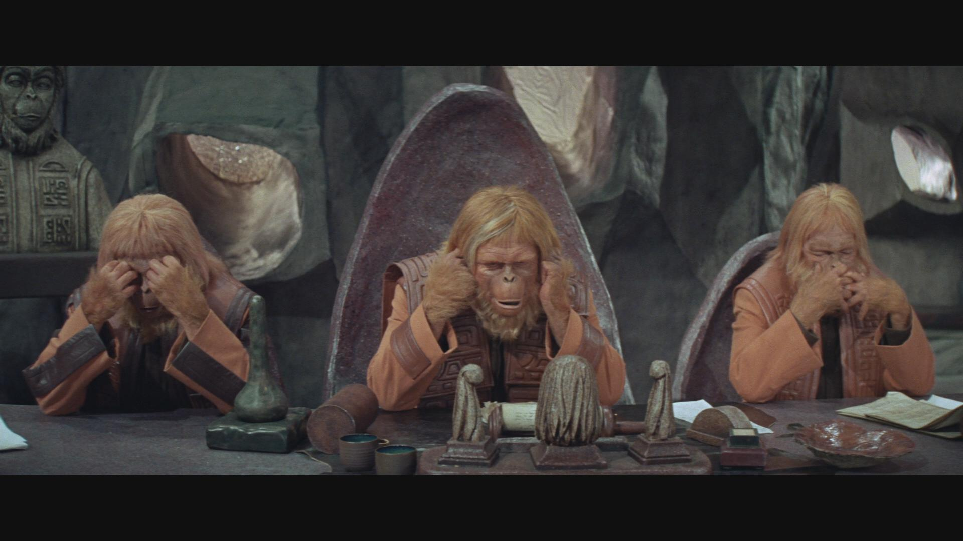 James Daly, Woodrow Parfrey, and James Whitmore in Planet of the Apes (1968)