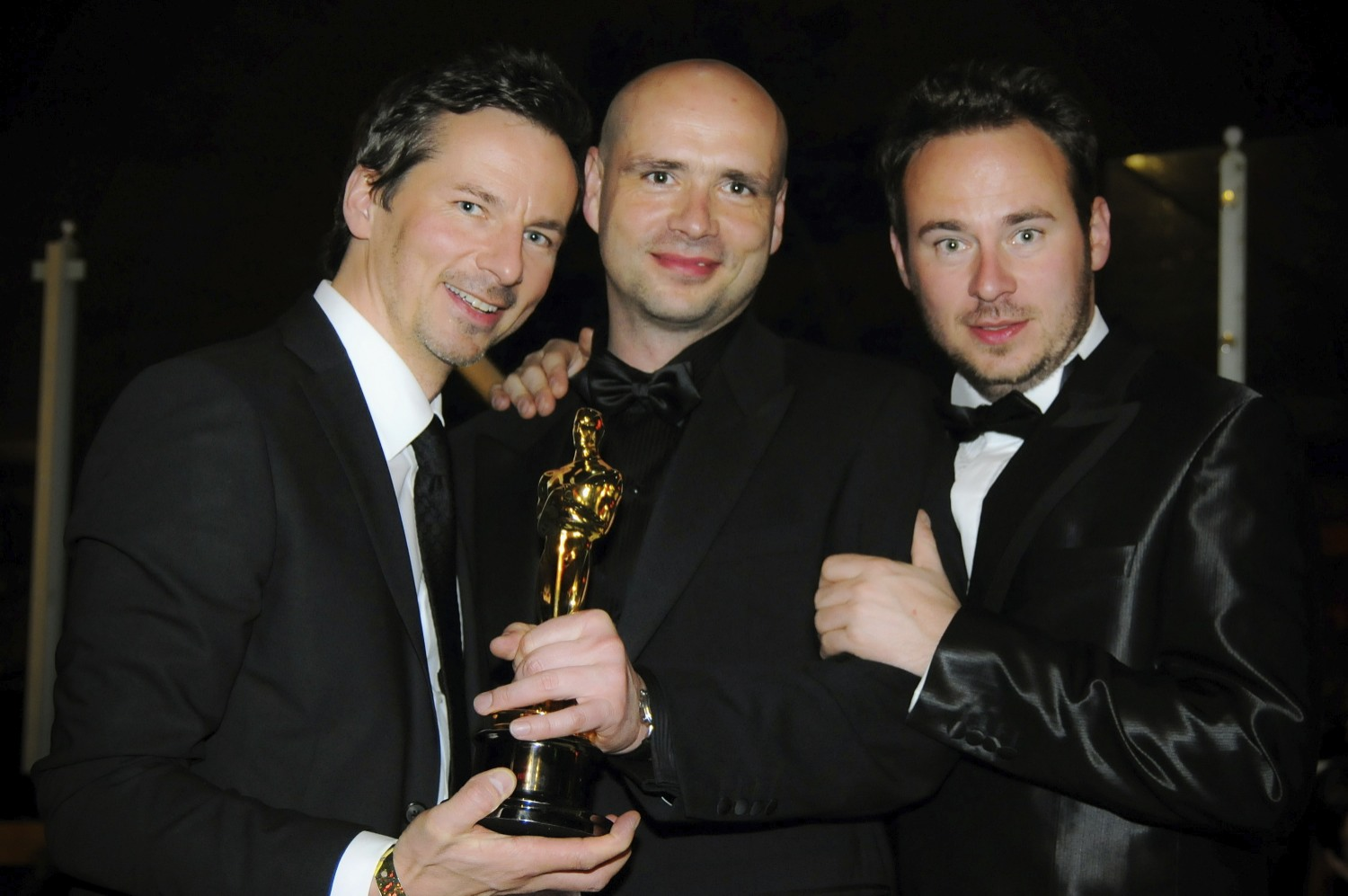 LOS ANGELES, CA - FEBRUARY 22: (L-R) Actor and producer DAVID BUNNERS, director and producer JOCHEN FREYDANK, screenwriter JOHANN BUNNERS at the 81st Annual Academy Awards held at Kodak Theatre on February 22, 2009