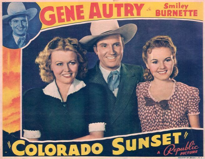 Gene Autry, Barbara Pepper, and June Storey in Colorado Sunset (1939)