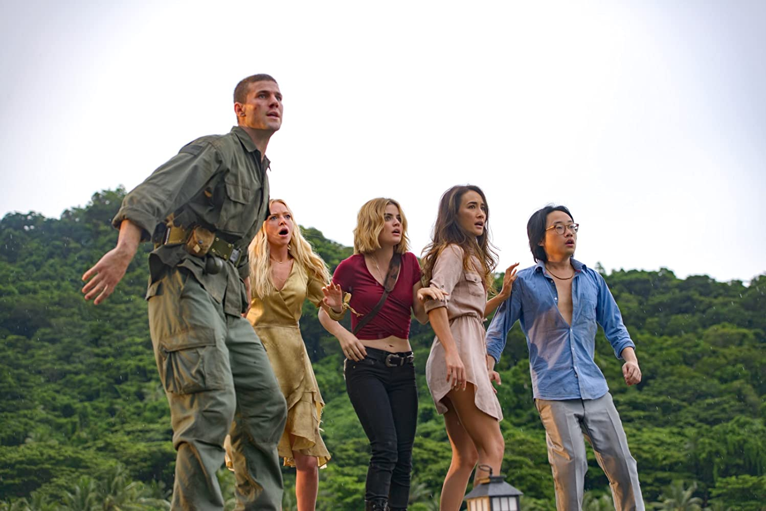 Portia Doubleday, Maggie Q, Lucy Hale, Austin Stowell, and Jimmy O. Yang in Fantasy Island (2020)