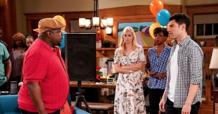 Tichina Arnold, Cedric the Entertainer, Max Greenfield, and Beth Behrs in The Neighborhood (2018)