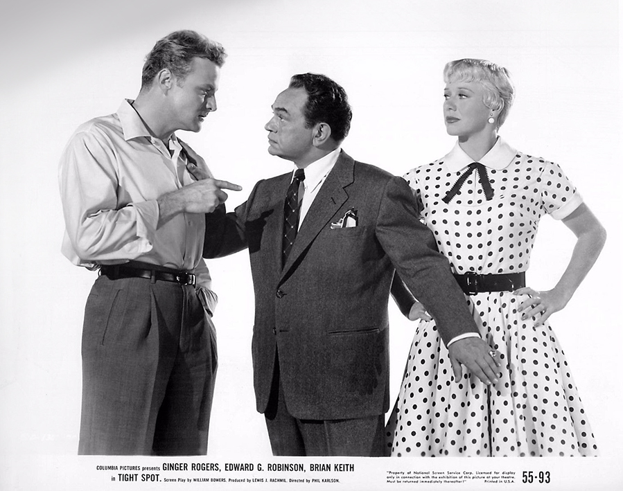 Edward G. Robinson, Brian Keith, and Ginger Rogers in Tight Spot (1955)