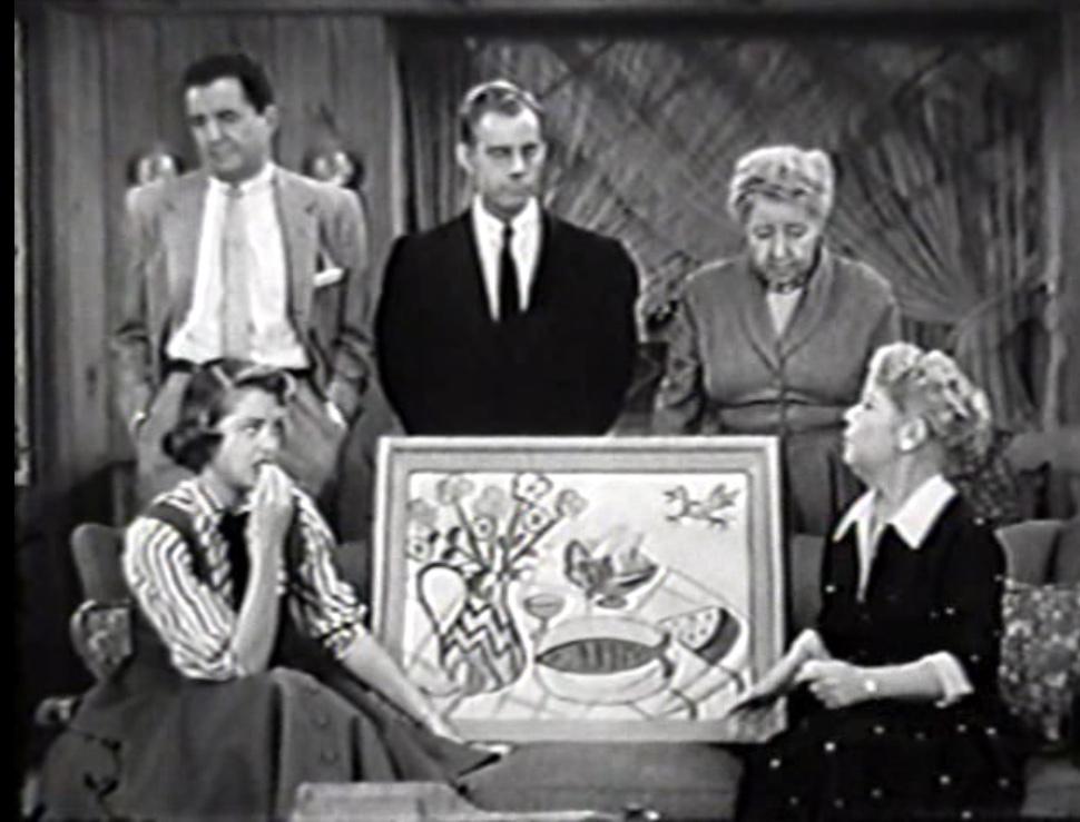 Spring Byington, Verna Felton, Dean Miller, Harry Morgan, and Frances Rafferty in December Bride (1954)