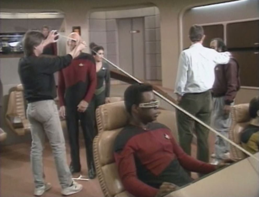 Marina Sirtis, LeVar Burton, and Patrick Stewart in Star Trek: The Next Generation (1987)