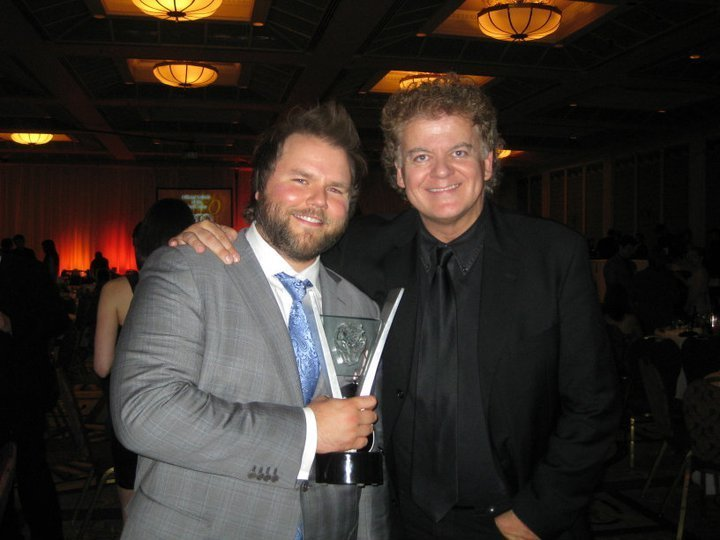Tyler Labine and director David Winning at the 2011 Leo Awards.  Vancouver, Canada.