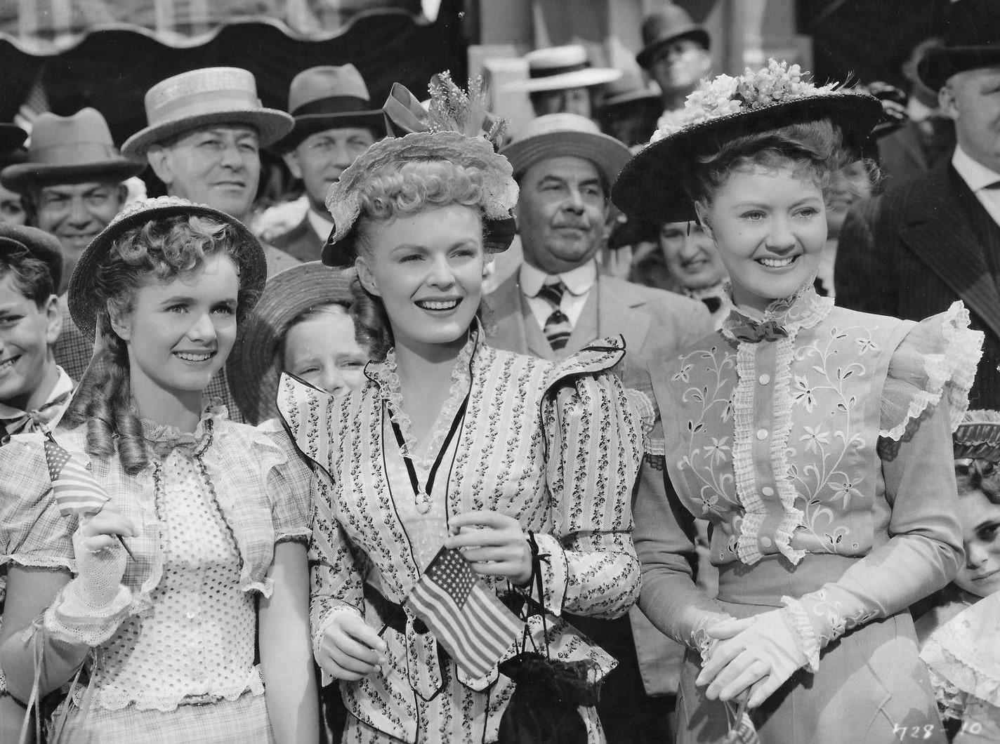 Debbie Reynolds, June Haver, and Marcia Mae Jones in The Daughter of Rosie O'Grady (1950)