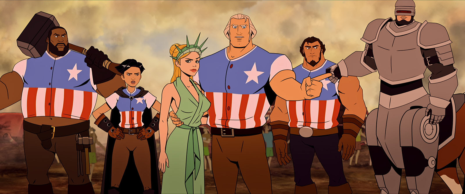 Judy Greer, Bobby Moynihan, Channing Tatum, Olivia Munn, Jason Mantzoukas, and Killer Mike in America: The Motion Picture (2021)