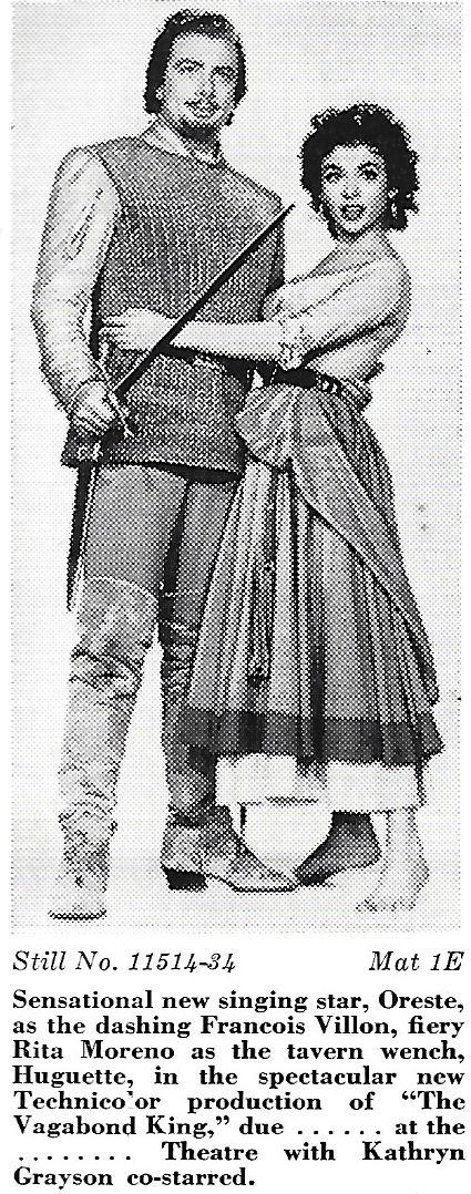Rita Moreno and Oreste Kirkop in The Vagabond King (1956)