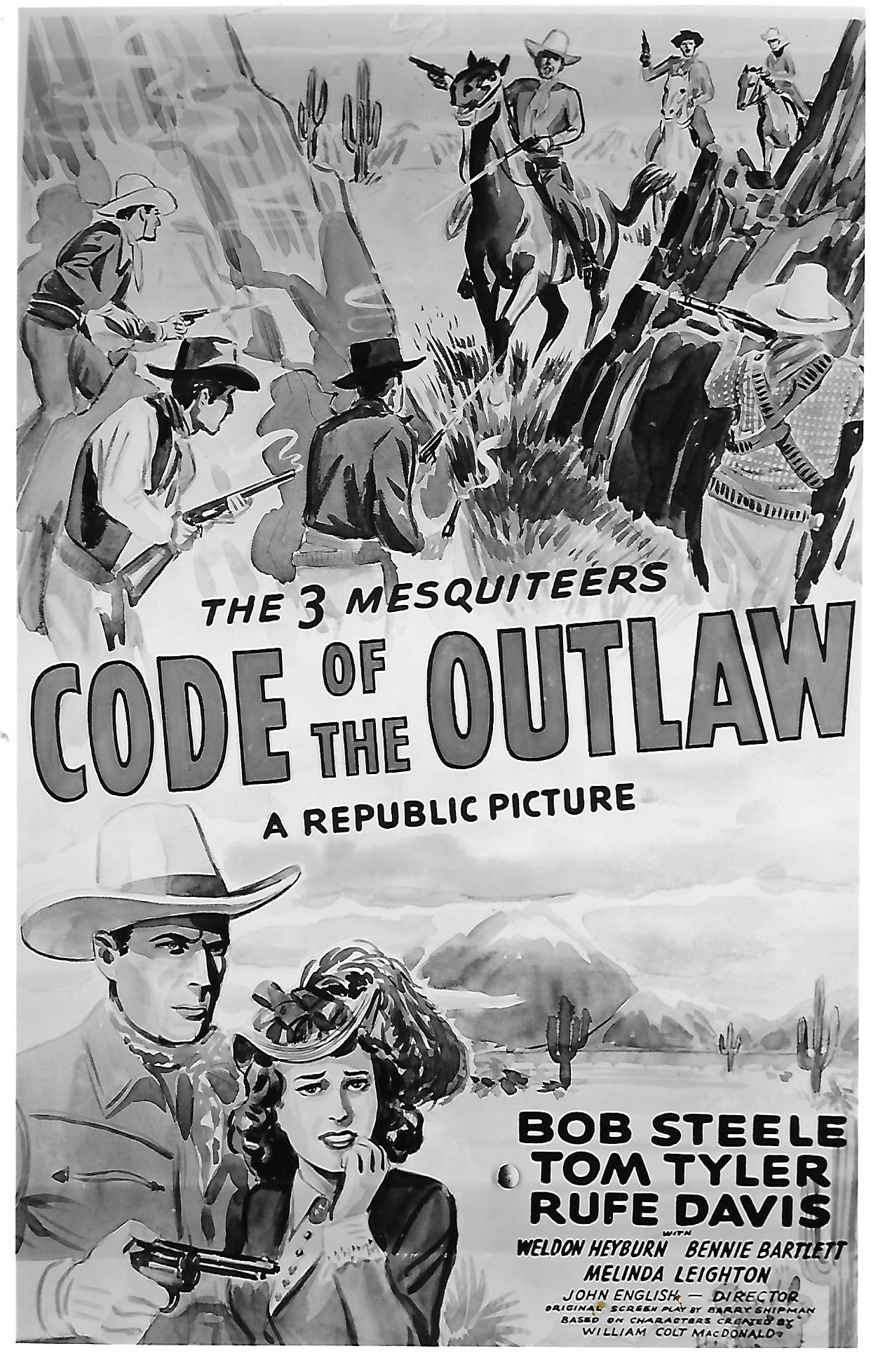 Linda Leighton and Tom Tyler in Code of the Outlaw (1942)
