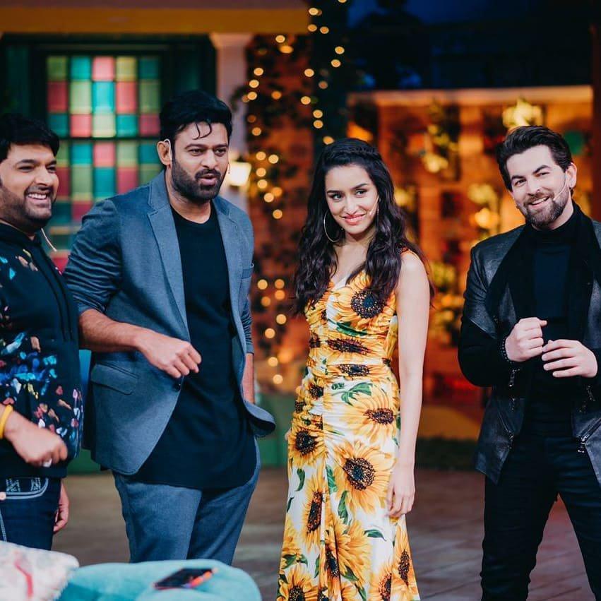 Prabhas, Neil Nitin Mukesh, Shraddha Kapoor, and Kapil Sharma in Team Saaho (2019)