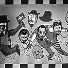 Daimi, Poul Godske, Jørn Grauengaard, Perry Knudsen, Bjarne Rostvold, and Mogens Landsvig in Snip, snap, snude - en omvendt historie (1964)