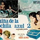 Pedro Fernández, Adalberto Martínez, Mónica Prado, and María Rebeca in La niña de la mochila azul 2 (1981)